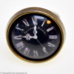Steampunk ring 23, brons, met nep klokje