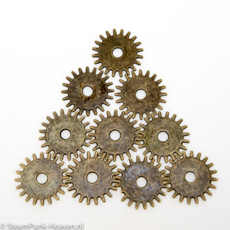 Steampunk tandwielen 16, set van 10 stuks, kleur brons