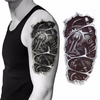 Steampunk tattoo sticker mechanische arm 2