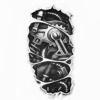 Steampunk tattoo sticker mechanische arm