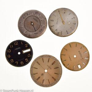 Steampunk horloge wijzerplaatjes, set van 5 stuks