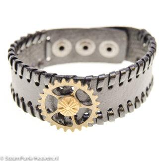 Steampunk armband 118, zwart, met tandwiel