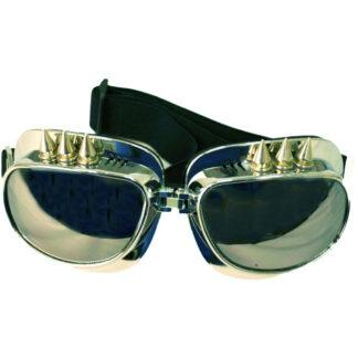 Steampunk piloten goggles 16 met spikes en spiegelnde glazen