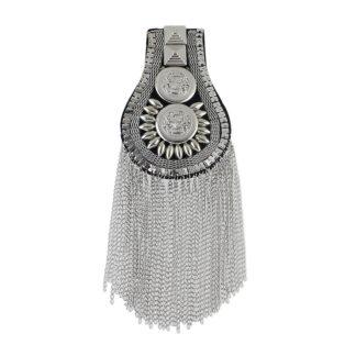 Steampunk schouder epauletten zilver,groot
