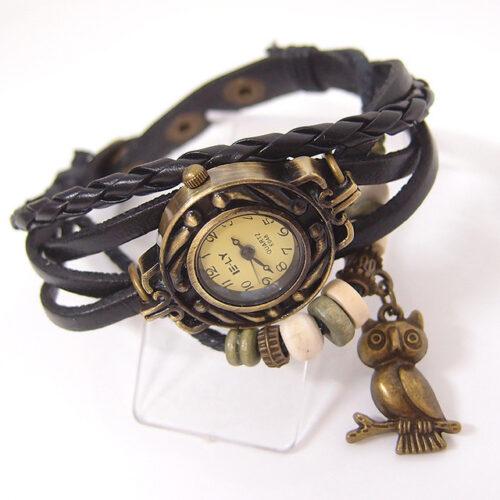Steampunk horloge armband zwart