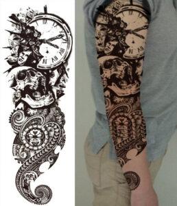 Steampunk tattoo sticker Shattered time