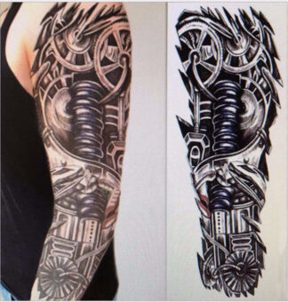 Steampunk tattoo sticker Gear arm