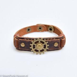 Steampunk leren armband 51