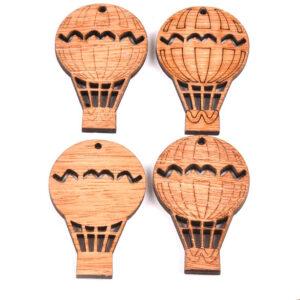 Steampunk luchtballon, hout, set van 4 stuks