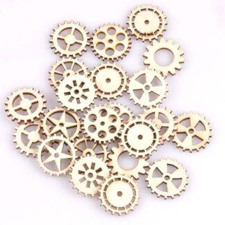 Steampunk tandwielen set Edna, hout, set van 50 stuks