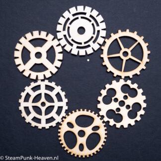 Steampunk tandwielen set Farryn, hout, set van 6 stuks