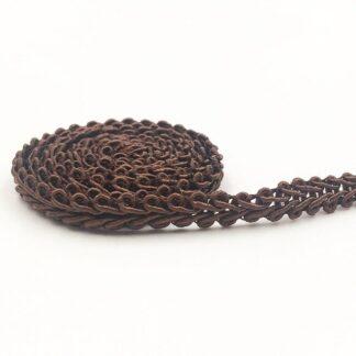 Steampunk brokaat band Lea, bruin, 12 mm