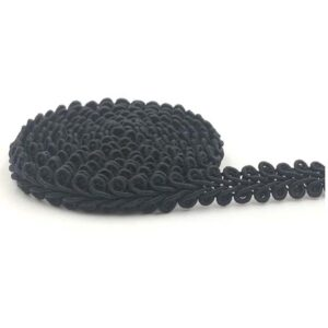 Steampunk brokaat band Tabio, zwart, 12 mm