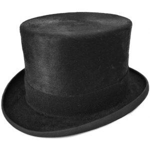 Steampunk hoge hoed Blacky, zwart van 100% konijnen vacht