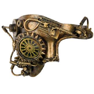Steampunk halfmasker Homunkulus heeft een ingebouwde mono-goggle. Het masker is versierd met een tandwiel, buizen, nietjes en spikes.