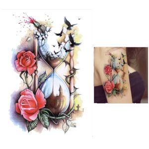 Steampunk tattoo sticker time flies