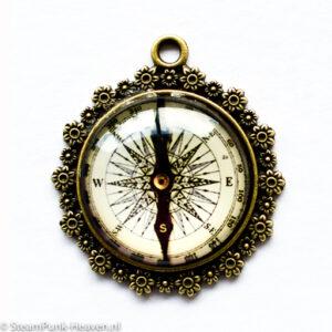 Steampunk kettinghanger kompas cabochon