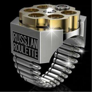 """Steampunk ring 1 met tekst tekst """"russian roulette"""""""