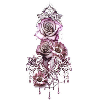 Steampunk tattoo sticker rosekey