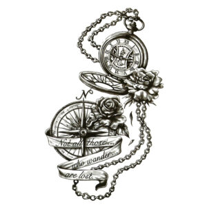 """Steampunk tattoo sticker """"Not all who wander are lost"""""""