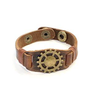 Steampunk leren armband 121