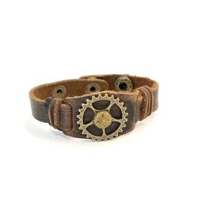 Steampunk leren armband 118