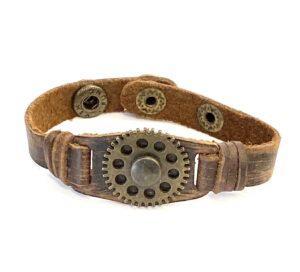Steampunk leren armband 40