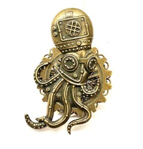 Steampunk broche 8 met octopus