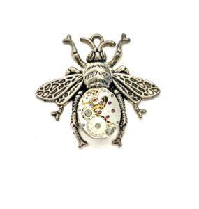 Steampunk kettinghanger uurwerk-bij zilver