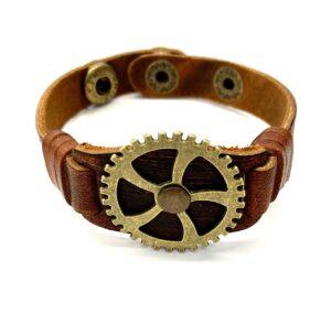 Steampunk leren armband 119