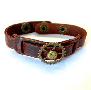Steampunk leren armband 14